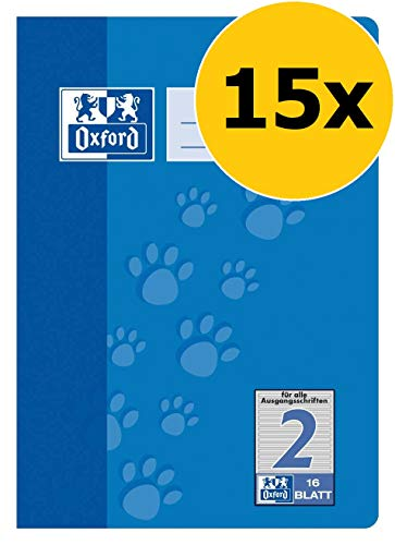 OXFORD 100050407 Schulheft Schule 15er Pack A5 16 Blatt Lineatur 2 (2. Klasse) blau