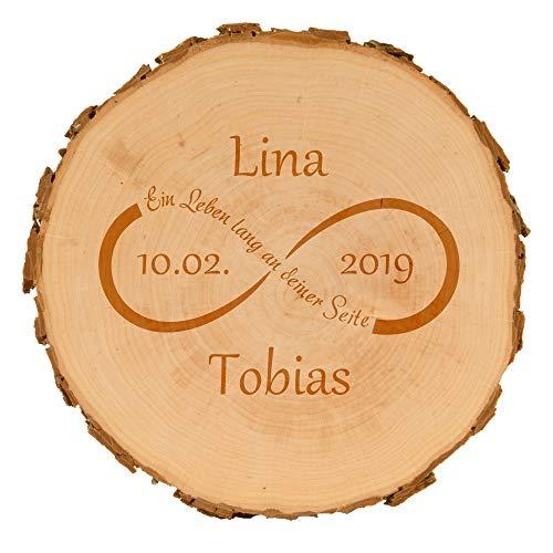 4you Design Baumscheiben für Paare mit Gravur - personalisierte Holzscheibe - Verschiedene Designs - Hochzeitsgeschenk - naturbelassen - Dekoration - Wanddeko (Unendlichkeitszeichen)