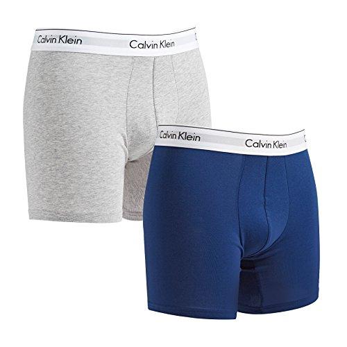 Calvin Klein - Calzoncillos bóxer de algodón elástico, 2 Unidades, Color Azul y Gris Jaspeado