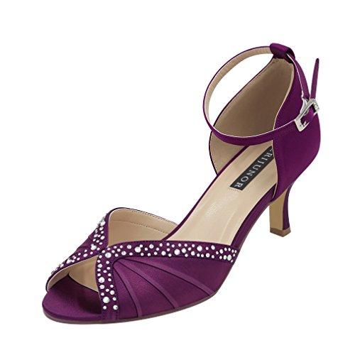 ERIJUNOR E8805C Women Comfort Low Heel Ankle Strap Rhinestones Pleat Satin Wedding Evening Dress Dance Shoes Plum Size 9
