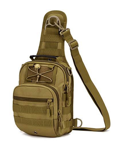 Yakmoo Mochila de Asalto Impermeable Estilo Militar Táctico de Nylon Bolsa de Bandolera Bolso Cruzado Bolsa de Mano al Aire Libre Marrón