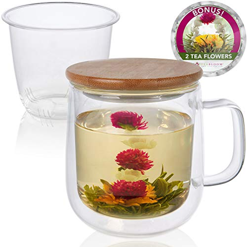 Teabloom Tea-For-One Brewing Mug Set – Large Insulated Double Wall Glass Mug (15 oz), Glass Infuser, Bamboo Lid/Coaster – For Loose Leaf Tea & Fruit Infused Water – 2 Blooming Teas Included