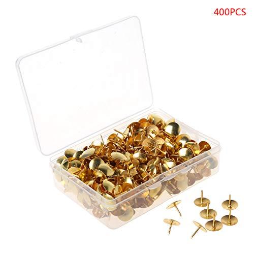 Chinchetas de metal, 400 unidades, chinchetas de metal para dibujo, pizarrón de corcho, marcadores de mapa de pared dorado