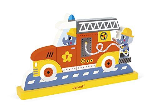 Janod - J08027 - Puzzle Vertical Magnétique 9 pièces - Pompiers (bois)