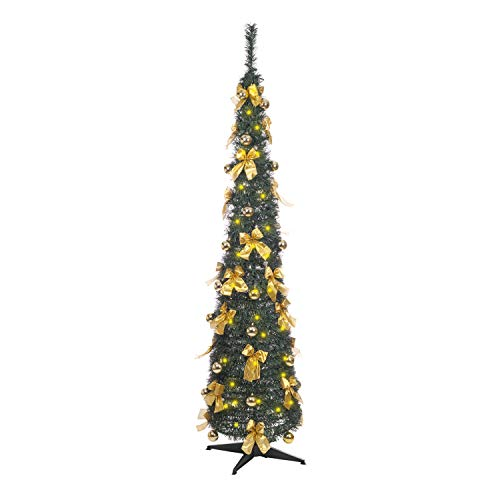 The Christmas Workshop - Albero di Natale da 1,83 m, con 60 luci a LED, Fiocco e Palle di Natale, Colore: Verde