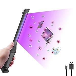 immagine di MXLEGNT Lampada Disinfezione UV, Sterilizzatore USB Portatile 254nm UVC+Ozono, Sterilizzazione Efficiente 99,99%, Timer 30Minuti, Disinfezione, Deodorizzazione e acari Multifunzione.