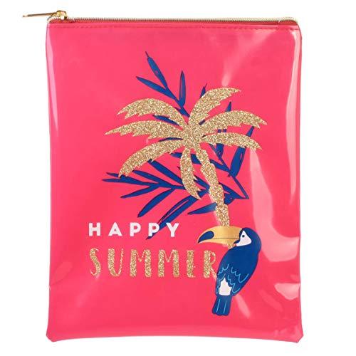 Les Trésors De Lily [Q7775 - Pochette maillot de bain 'Tropical' rose (Happy summer) - 23x18 cm