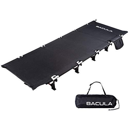 BACULA キャンプコット アウトドアベッド 折りたたみ コンパクト 軽量 耐荷重150kg 防水 収納袋付 【バキュラ正規1年保証】 (ブラック)