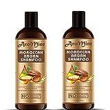Glamorous Hub Aromine - Champú para el cabello de argán marroquí con aceite de argán orgánico (sin sulfato ni parabenos), paquete combinado (cada 100 ml)