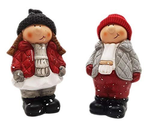 Wichtelstube-Kollektion Juego de figuras decorativas de 20 cm (2 unidades), diseño de niño y niña