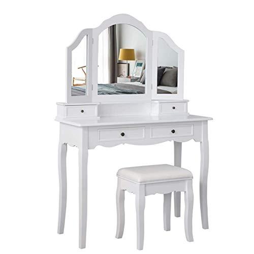 Meerveil Schminktisch mit Hocker, Frisierkommode Frisiertisch mit 3 Spiegel, 4 Schubladen, rutschfeste Aufkleber, Weiß
