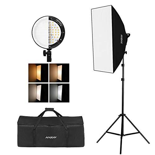Andoer Photography Studio Portrait Producto Kit de Tienda de Iluminación con Luz Equipo Fotográfico (Bombilla 12 * 45W + 3 * 4 en 1 Portalámparas + 3 * Softbox + 3 * Soporte de Luz + 1 * Estuche)