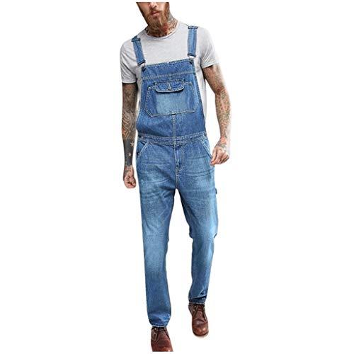Jeans Hommes Combinaison Pantalon Streetwear Bretelles Salopette Dechiré Short De en Denim Skinny Courte Rhip Hop Combinaisons Rue La Mode Ete Outdoor Casual Cargo(Bleu 1,S)
