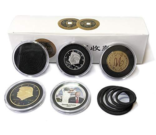 20 Einheiten Kunststoff-Münzhalter-Kapseln Behälter mit schwarzer Schaumdichtung Münzen Aufbewahrungskoffer-Vitrinen (NO.1)