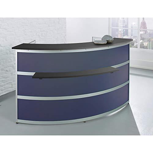 Banque d'accueil de base Tools - élément arrondi, plateau coloris anthracite - verre synthétique satiné -