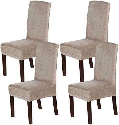 LINGKY Samt Esszimmer Stuhlhussen Stretch Stuhlhussen Für Esszimmer Parson Stuhl Schonbezüge Stuhl Schutzhüllen Esszimmer, Soft Thick Solid Velvet Fabric Washable (Taupe,Set of 4)