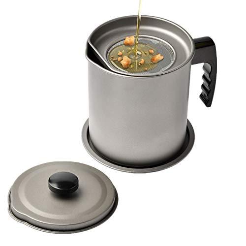 Love Your Kitchen Aceite de Cocina Almacenamiento de Grasa Keeper, Aceite de Grasa colador Recipiente con Filtro para freír Profundo (Gris - 1.6L)