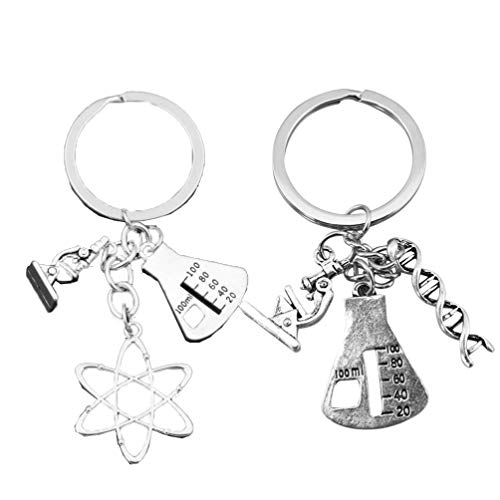 VORCOOL 2pcs Science Symbol Keychain Atom Microscope Key Chain Biology Chemistry Teacher Gift Keyring Science Lovers Gift