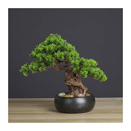 Artificial Bonsai Tree Artificial Bonsai Welcoming Pine Tree Simulation Potted Plant Decorative Bonsai, Desk Display Fake Tree in Ceramic Pot for Home, Office, Shop Decorative Gifts Bonsai Tree Decora