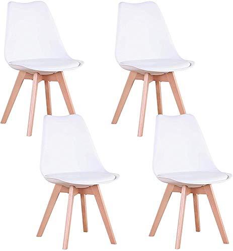 Estilo nórdico sillas ergonómicas, sillas de comedor, asientos tapizados se pueden colocar en la cocina, sala, sala de conferencias, bar, sala de comer torta, white