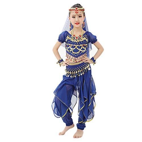 Bauchtanz Kostüme Kinder Mädchen Bauchtanz Ägypten Tanzkleid Kurzarm Top + Pluderhosen 2 PCS Piebo Indische Bollywood Orient Kostüme Belly Dance Pailletten Karneval kein Kopftuch, Keine Hip Schal