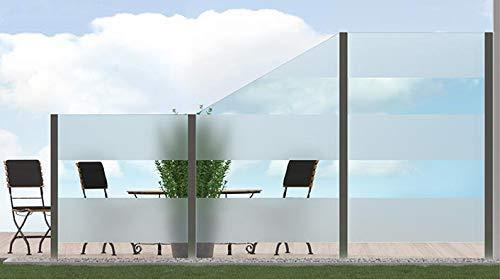 bijon Sichtschutz Glas Terrasse Glas-Zaun Windschutz Terrasse Glas, Balkongeländer Glas für Balkon Garten, Sichtschutzwand Glas, Teilsatiniert PG10-L | 1835x1135mm