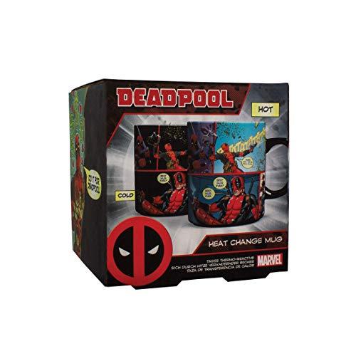 Marvel Thermoeffekt-Tasse Deadpool schwarz, bedruckt, aus 100% Keramik, Fassungsvermögen ca. 315 ml..