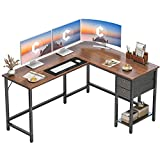 Cubiker L-Shaped Computer Desk, Home Office Corner Desk with Non-Woven Drawer, Sturdy Writing Table, Space-Saving, Easy to Assemble, Espresso