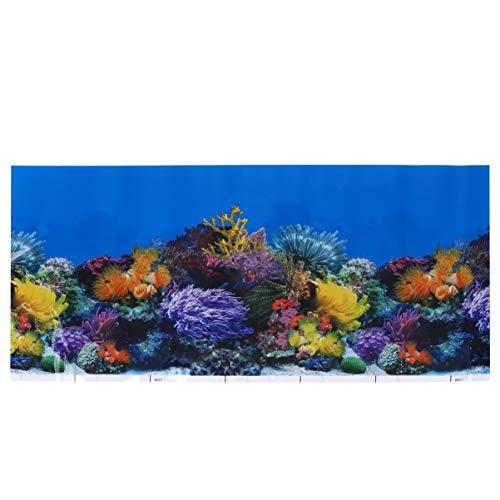 ledmomo 水族館ポスター 62x30cm 3D効果 バックスクリーン 水草 両面壁紙 水槽の背景 水槽の飾り 水槽 水族館 魚タンク バックグラウンド 装飾 背景