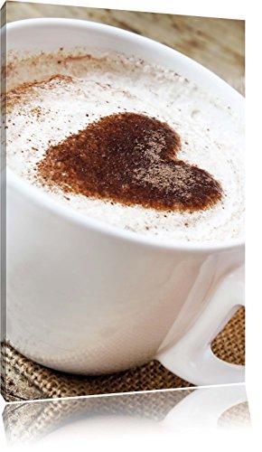 Kaffe mit Herz, Format: 80x60 auf Leinwand, XXL riesige Bilder fertig gerahmt mit Keilrahmen, Kunstdruck auf Wandbild mit Rahmen, günstiger als Gemälde oder Ölbild, kein Poster oder Plakat