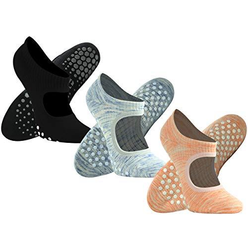Home Gym Equipment Yoga Socks, Gmoka Women's Non Slip Pilate Hot Normal Yoga for Home Fitness,Stretching,Strength Training Non-Skid Bottom with Sticky Grips(3Pairs-Black+Orange+Blue-Gray Medium)