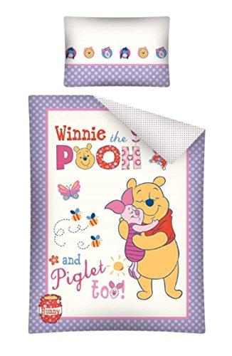 Disney Parure de lit bébé Winnie L'ourson housse de couette coton 100 x 135 cm