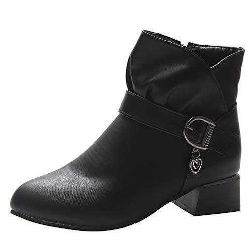 ALIKEEY Chaussures de securite Femmes Bottes Femme Hiver Talons Hauts Sexy Femmes Talon Talon Boucle Cuir Fermeture Éclair Martin Bottes Chaussures Bottines