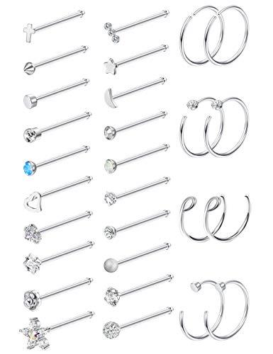 MILACOLATO 20G 28Pcs Stainless Steel Nose Stud Set Bone L-Shaped Screw Labret Lip Nose Ring Hoop Piercing Jewelry Bone-Shape