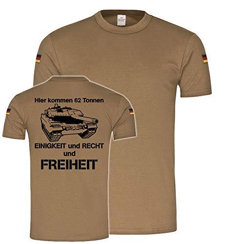 Copytec BW Tropenshirt Panzer Kompanie Leo2A6 62 Tonnen Einigkeit Recht Freiheit #20157, Farbe:Khaki, Größe:Herren M