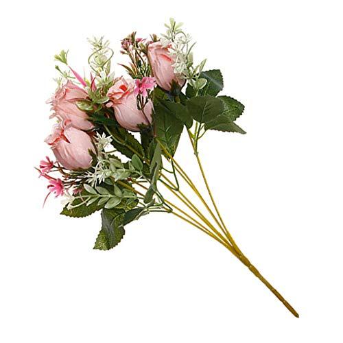Hotaluyt 2pcs Artificiales de Rose bonquet Falso Matrimonio Flor Adorno Floral Ornamento Inicio de Suministro