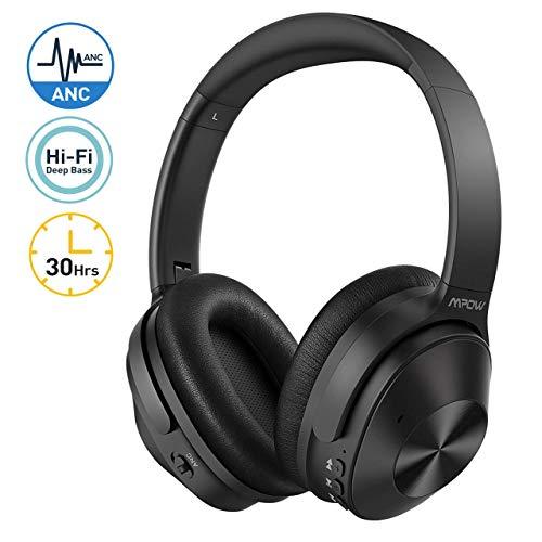 Mpow H12 Cuffie Noise Cancelling Ibrida, Cuffie Bluetooth 5.0 Con Autonomia 30 Ore, Audio Hi-Fi e Ricchi Bassi, Chimata in Vivavoce e CVC6.0, Cuffie Cancellazione Attiva Rumore Per Cellullari/PC/TV