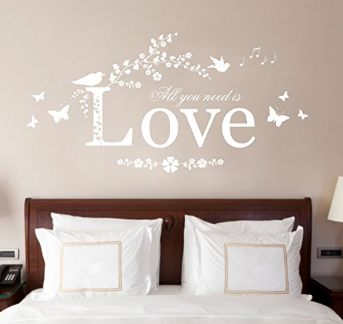 All You Need is Love, Vinyl Wall Art Sticker Decal Mural, Bedroom, Lounge, 80cm width x 40cm high (White) by Fabulous Wall Art Stickers