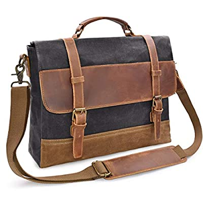 Mens Messenger Bag 15.6 Inch Waterproof Vintage Genuine Leather Waxed Canvas Briefcase Large Satchel Shoulder Bag Rugged Leather Computer Laptop Bag Grey by NEWHEY