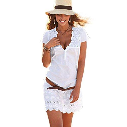SEWORLD 2018 Elegant Frauen Sommer V-Ausschnitt Spitze Kurzarm Kleid (Weiß, M)
