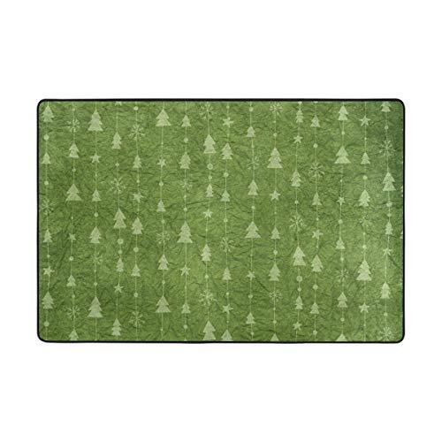 DEZIRO Fußmatte, Weihnachtsbaum, hellgrüner Papierhintergrund, Polyester, Rutschfest, waschbar, Polyester, 1, 72 x 48 inch