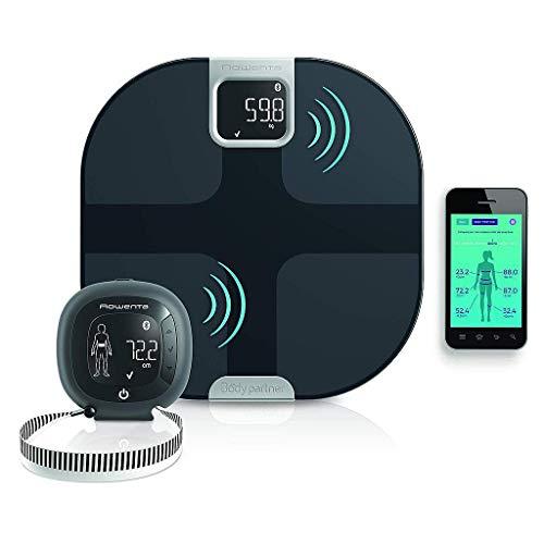 Rowenta YD3091 Body Partner Shape Bilancia Pesapersone Wireless Smart Connessa al Cellulare, con Tracker per Misurazione della Composizione Corporea, Nero