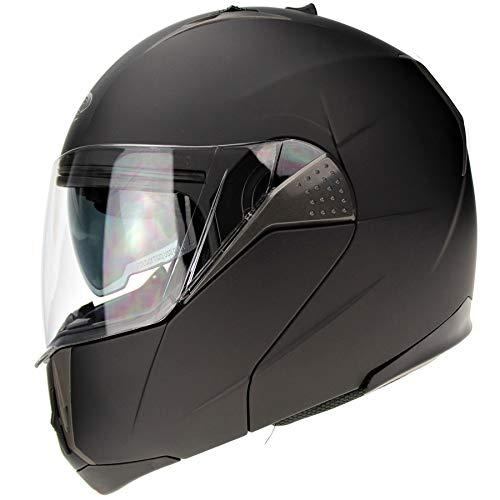 3GO E335 Casco Moto Apribile Nero Opaco Modulare Omologato ECE a Doppia Visiera per la Protezione Della Bici (M (57-58 CM)