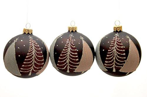 Kaemingk 8 centimetre Sapin de Noël décoré avec paillettes d'or boules de Noël en verre – Lot de 3