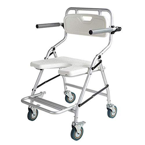 Faltbare Mobile Toilette, Duschstuhl Mit Rückenlehne, Medizinischer Badhocker Mit Rollen, Mobiler Kinderwagen Für Behinderte, Ältere Menschen