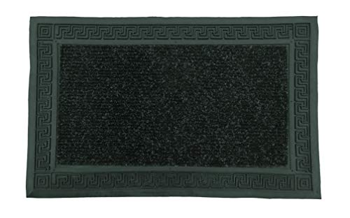 LucaHome - Felpudo Entrada casa Negro 37x52 cm Rectangular de Goma-Moqueta Base Antideslizante, Felpudo, fácil Limpieza, Felpudo Absorbente, Fepudo para Exterior e Interior