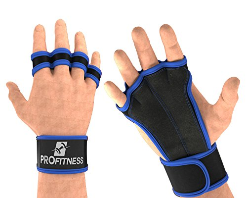 ProFitness Gloves Weight Lifting Gloves for Women Wrist Support Gym Gloves Women Gym Gloves Women with Wrist Support Palm Gloves Calisthenics Wrist Wraps Leather Workout Gloves (Royal Blue, Medium)