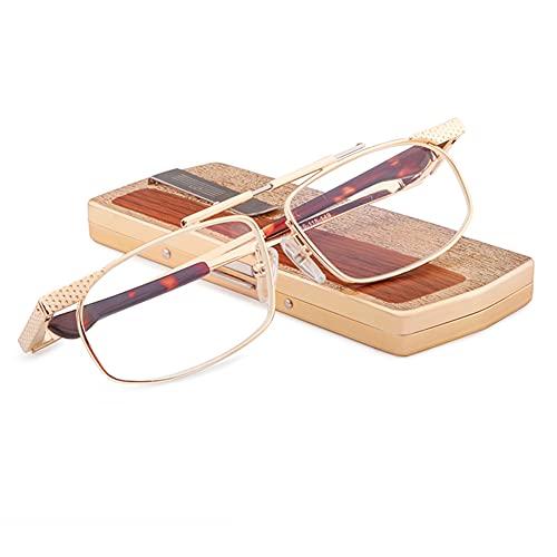 JUNZ Gafas de Lectura Plegables,Gafas para Leer de Anti-Luz Azulportátil para Hombres con Caja de Metal,Oro,+ 1.0,+ 1.5,+ 2.0,+ 2.5,+ 3.0,+ 3.5