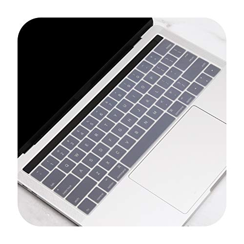 US Gradient Colorful Silicone Keyboard Cover Skin for MacBook Pro 13 15 inch Touch bar 2019 A2159 A1989 A1990 Keyboard Protector-Clear