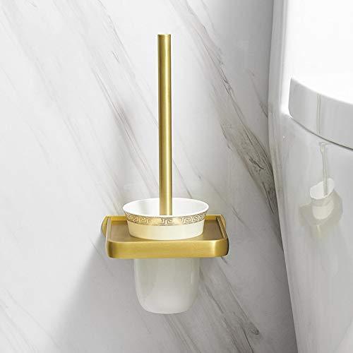 PPuujia Baño para el Soporte de la Cepillo de Inodoro Espacio de Aluminio de Aluminio Cepillado Dorado Cepillo Rack Montaje en Pared Estante de Almacenamiento Accesorios de baño (Color : Style 6)